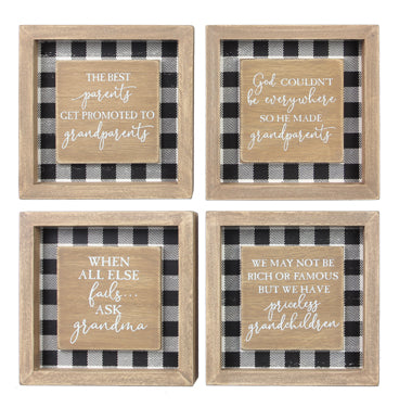 WOOD FRAMED MINI SQUARE TABLETOP/WALL GRANDPARENTS SIGN