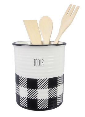 CERAMIC BLACK AND WHITE BUFFALO PLAID KITCHEN TOOL HOLDER WITH TOOLS