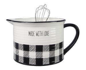 CERAMIC BLACK AND WHITE BUFFALO PLAID MIXING BOWL WITH WISK