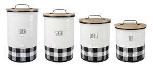 CERAMIC BLACK AND WHITE PLAID CANISTER SET