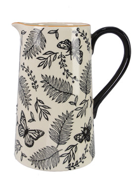 STONEWARE BLACK AND NATURAL WHITE BOTANICAL WATER PITCHER