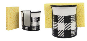 CERAMIC BLACK AND WHITE BUFFALO PLAID SPONGE HOLDER WITH SPONGE