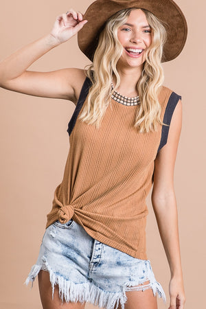 Light Brown Sleeveless Print Collar Top