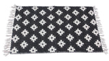 Black and White Cotton Hand Woven 24x36 Reversible Area Rug