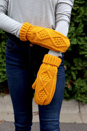 Mustard Fleece-Lined Mittens