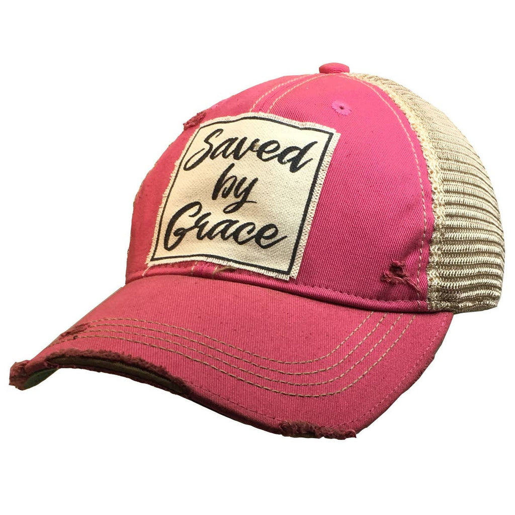 Distressed Trucker Cap - Saved by Grace Hot Pink