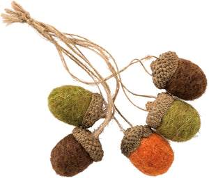 Multicolor Felt Acorn Set