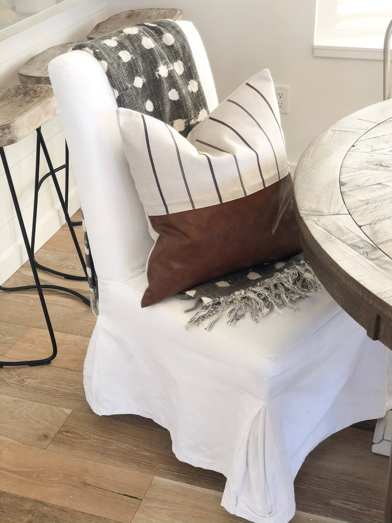 Faux Leather Pinstripe Pillow