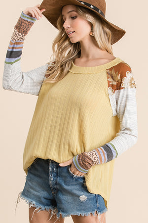 Yellow Long-Sleeve Top with Multi Print Sleeves