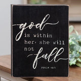 She Will Not Fall Box Sign
