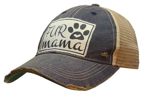 Distressed Trucker Cap - Fur Mama Navy