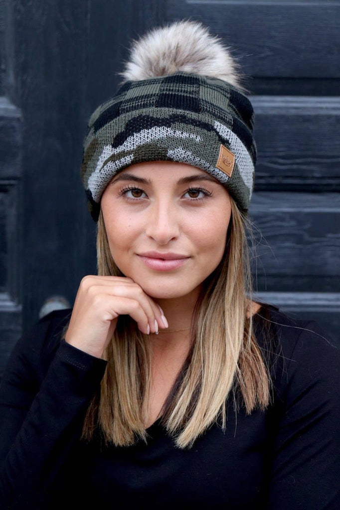 Camo and Green Buffalo Plaid Pom Knit Hat