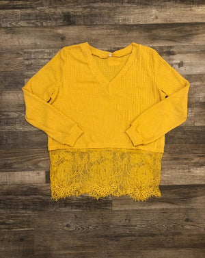 Lace-trimmed Waffle Knit