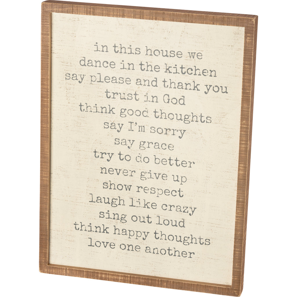 Inset Box Sign - In This House We Trust In God