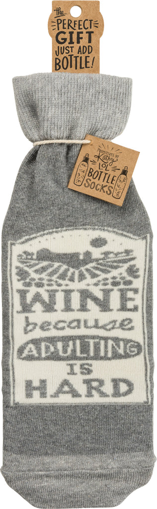Bottle Sock - Wine Because Adulting Is Hard
