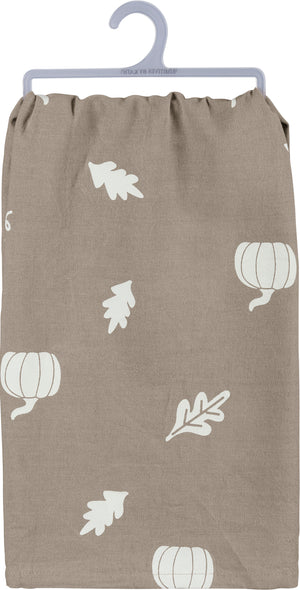 Dish Towel - Autumn Leaves And Pumpkin Please