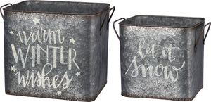 Textured Metal Winter Bins