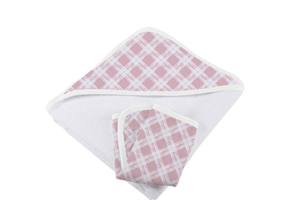 Pink Plaid Hooded Towel and Washcloth Set