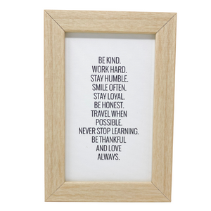 Natural Be Kind Work Hard Wall Art