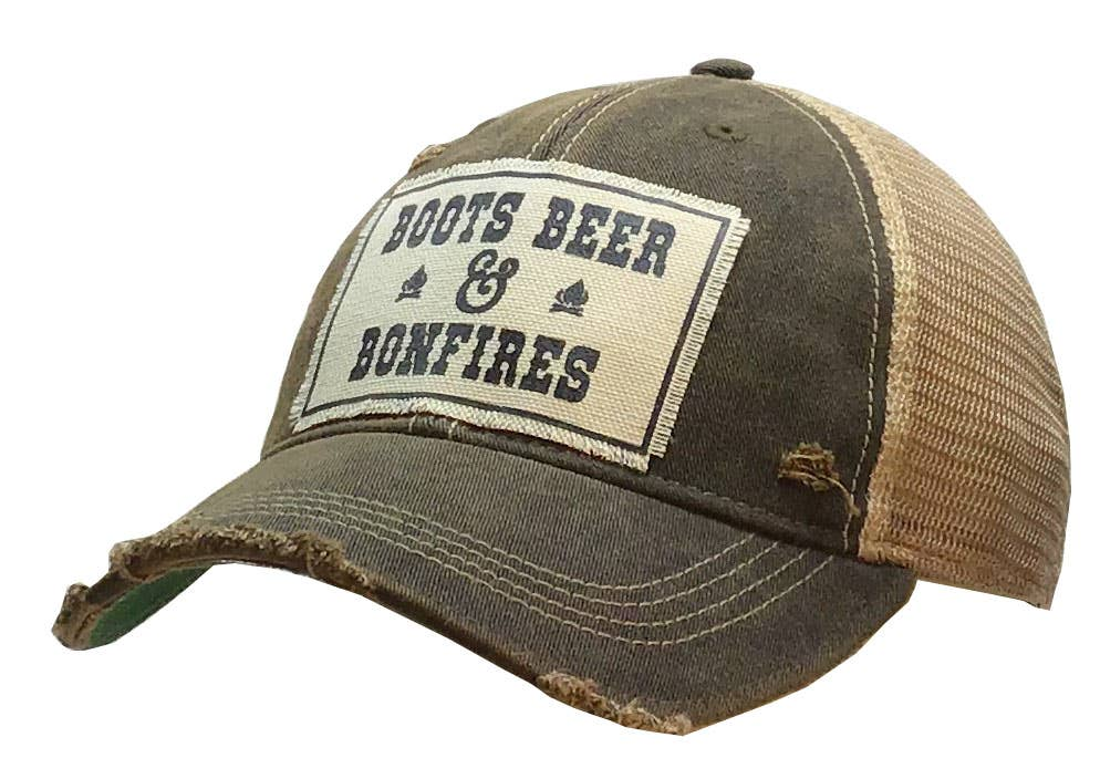 Distressed Trucker Cap - Boots Beer Bonfires Classic