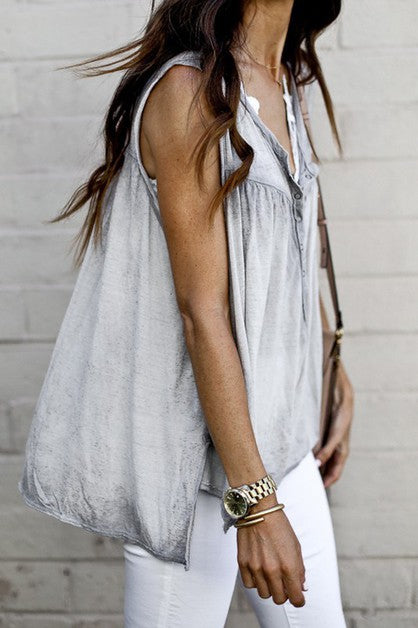 Gray Mineral-Washed Sleeveless Top