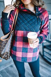 Black Quilted and Plaid Asymmetrical Pullover
