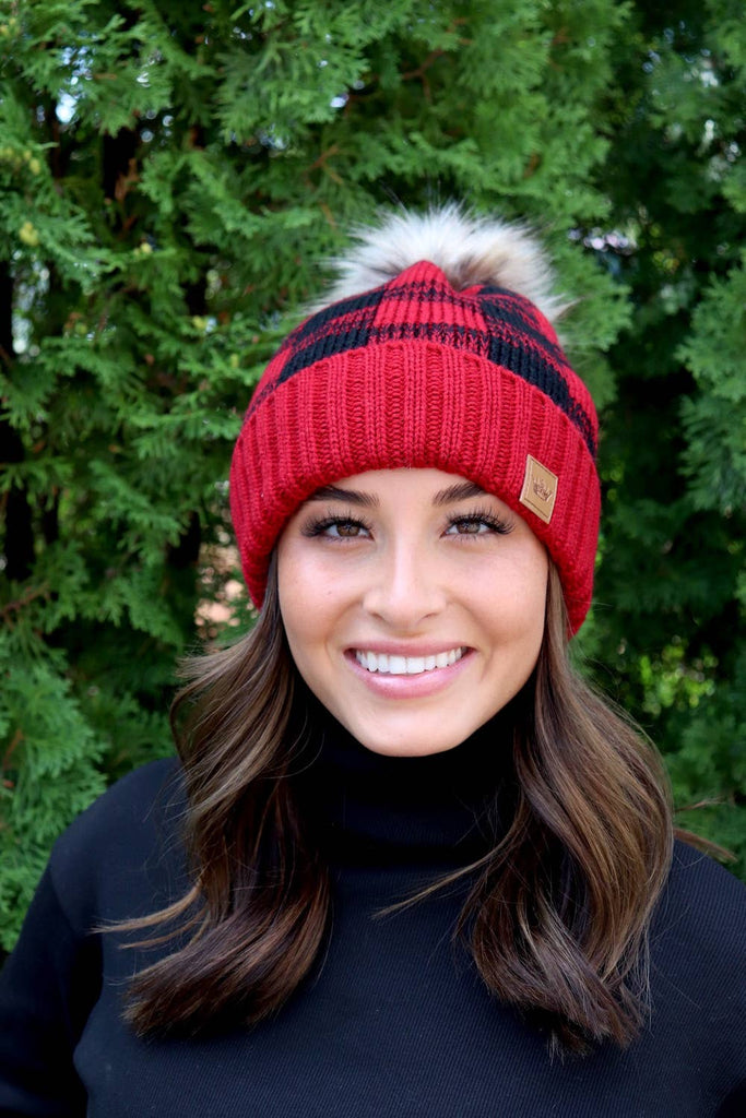 Red and Black Plaid Pom Knit Hat