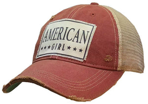 Distressed Trucker Cap - American Girl Red