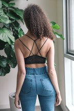 Strappy Back Geometric Lace Bralette