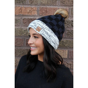 Black and dark grey fleece Pom Hat