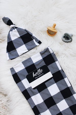 Itzy Ritzy Black & White Gingham Cutie Cocoon + Hat Set