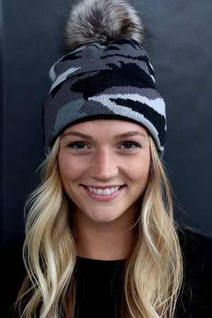 Black and Gray Camo Pom Knit Hat
