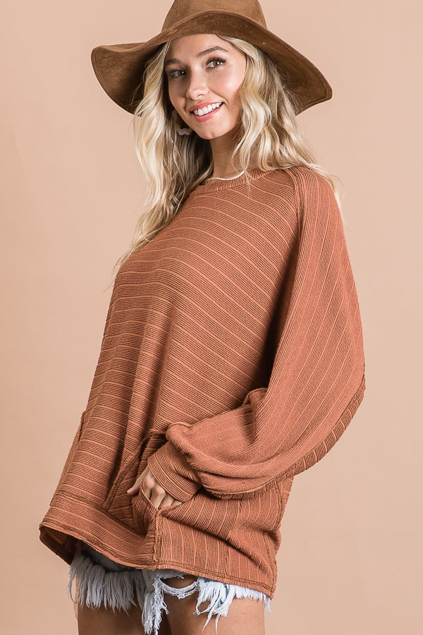 Cinnamon Textured Bold Striped Top