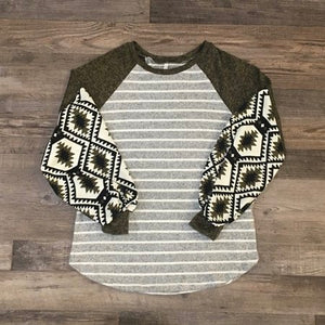 Balloon Sleeve Aztec Long Sleeve Top