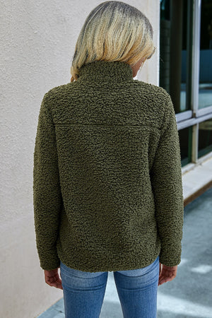 Olive Fleece Zip-Up