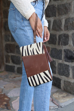 Zebra and Leather Wristlet