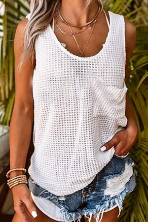 White Sleeveless Waffle Loose Fit Top
