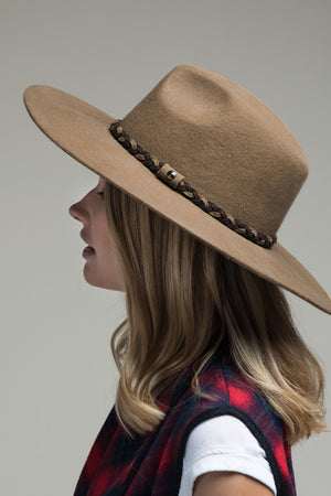 Pecan Wool Panama Hat with Braid