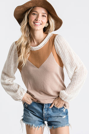 Boho Knit-Sleeve Top