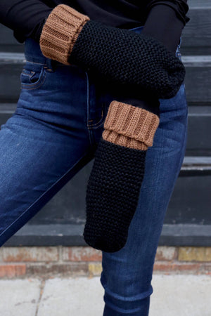 Black & Tan Two-Tone Mittens