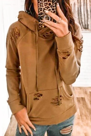 Mocha Distressed Hooded Sweatshirt