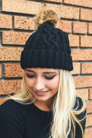 Cable Knit Beanie with Faux Fur Pom, Multiple Colors