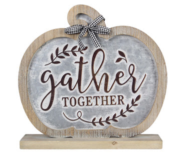 WOOD FRAMED PUNCH TIN GATHER TABLETOP SIGN