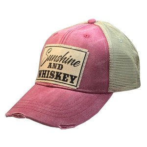 Distressed Trucker Cap - Sunshine and Whiskey Red