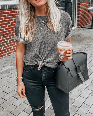 Gray Knotted Leopard Tee