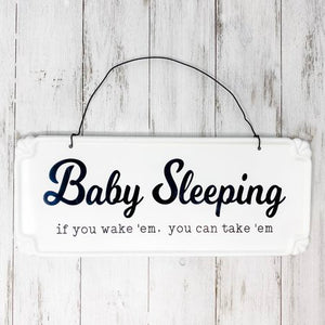 Baby Sleeping Metal Hanging Sign
