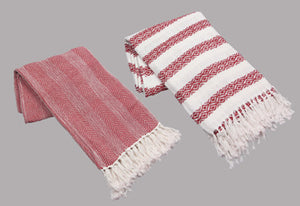 Red Cotton Throws with Tassels
