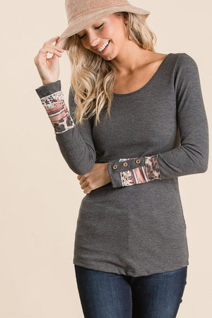 Aztec Trimmed Charcoal Tee
