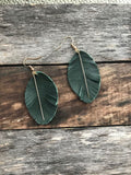 Green Leather Feather with Gold Rod Earrings