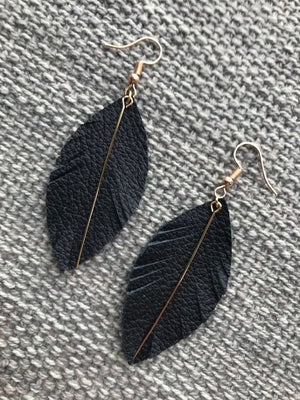 Black Leather Feather with Gold Rod Earrings